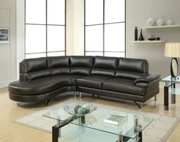 Living Room Furniture 2pc Sectional set Espresso Right Chais