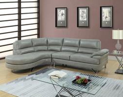 Living Room Furniture 2pc Sectional set Gray Right Chaise Le