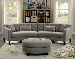 Classic Contemporary Linen Like Fabric Sectional Sofa Warm G
