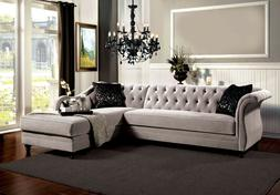 Warm Gray Sectional Sofa Set Luxurious 2p Set French Style L