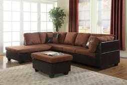 Living Room Set Chocolate Microfiber Faux Leather Sectional