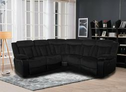 Living Room Two Tone Reclining Sectional Sofa Set Wedge Blac