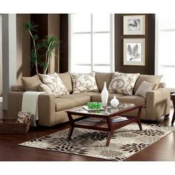 Furniture of America Lleida 2-Piece Fabric Sectional Sofa