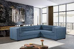 Iconic Home Lorenzo Left Facing Sectional Sofa L Shape Linen