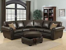 AC Pacific Louis 3-piece Brown Living Room Sectional with Ot