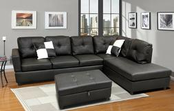 Luxury Faux Leather Living Room Sectional Sofa Set Black/Esp