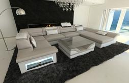 Luxury Sectional Sofa Atlanta U Designer Couch with LED Ligh
