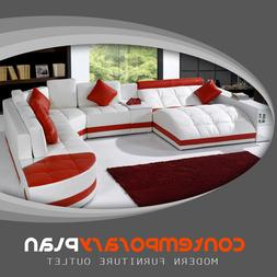 Curved Modern Design Red Miami Contemporary Leather ...