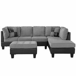 Microfiber and Faux Leather 2 Tone Sectional Sofa, Reversibl