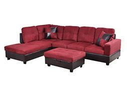 Home Garden Collections 3 Piece Microfiber/Faux Leather Cont