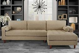 Mid-Century Modern Tufted Fabric Sectional Sofa, L-Shape Cou