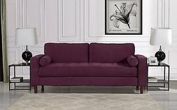 Mid Century Modern Velvet Fabric Sofa, Couch with Bolster Pi