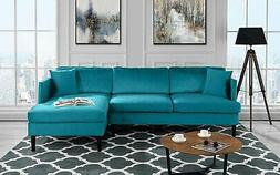 Mid Century Modern Velvet Sectional Sofa, L-Shape Couch w/ W