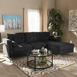 Mireille Modern Tufted Gray Fabric Upholstered Left-Facing C