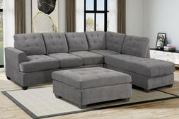 Modern 3 Piece Living Room Set Grey Sectional with Ottoman S