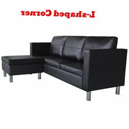 Black Sectional Sofa Modern 3 Seater L Shape Leather Couches
