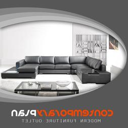 Modern Black Italian Leather Sectional Sofa w Built in Light