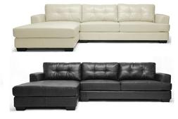 Modern Black or White Leather-Soft* Tufted Sectional Sofa Ch