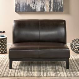 Darcy Contemporary Upholstered Loveseat, Brown and Espresso