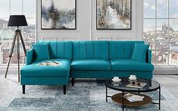 "Modern Classic 99.2"" inch Velvet Sectional Sofa, L-Shape Cou"