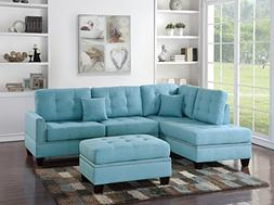 Modern Classic Bobkona Living Rom 3pcs Sectional Couch Tufte
