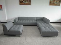 Modern contemporary design gray Leather Sectional Sofa + cha