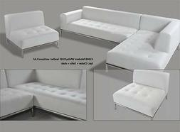 Modern contemporary white Leather Sectional chaise + sofa +o