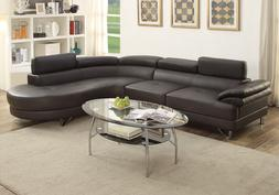 Modern Curved Sectional Sofa Couch Round Chaise Espresso PU