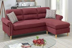 Modern Cushion Sectional Sofa Paprika Red Color Fabric Couch