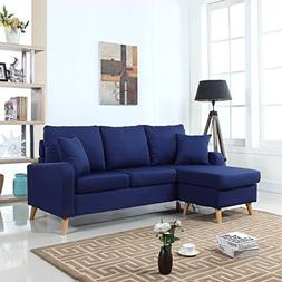 Modern Fabric Small Space Sectional Sofa with Reversible Cha