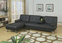 Modern Gray Fabric Adjustable Futon Sofa Bed Sectional Set C