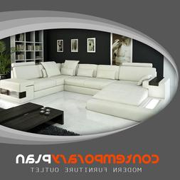 Modern Ivory Italian Leather Sectional Sofa with Built In Li