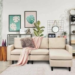 Modern L-shaped Convertible Sectional Sofa with Massage Back
