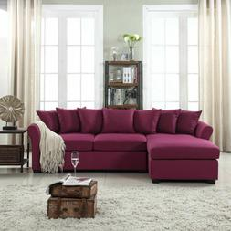 Modern Large Linen Sectional Sofa with Extra Wide Chaise - P
