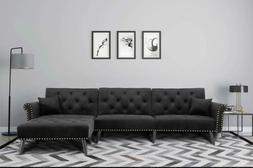 modern large velvet fabric sectional sofa l