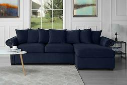Modern Large Velvet Sectional Sofa, Scroll Arm L-Shape Couch