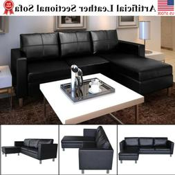 Modern Leather Sectional Sofa 3 Seater L Shaped Living Room