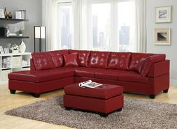 Modern Leather Sectional Sofa Chaise Couch Set Soft Living R