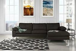 Modern Leather Sectional Sofa, L-Shape Couch w/ Chaise