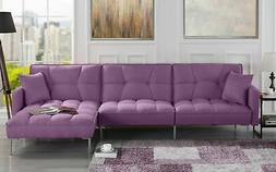 Modern Linen Casual Fabric Futon Sectional Sofa, Pillows, 11
