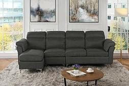Modern Linen Fabric Large Sectional Sofa, Classic L-Shape 4