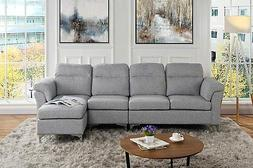 Modern Linen Fabric Large Sectional Sofa, L-Shape Right Face