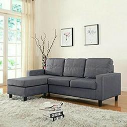Modern Linen Fabric Small Space Sectional Sofa with Reversib