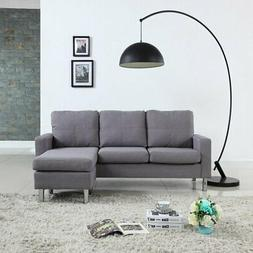 Modern Living Reversible Linen Fabric Sectional Sofa, Light