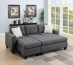 Modern Living Room Bobkona All in One Sectional Blue Grey Po