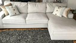 Modern Living Room Large Linen Sectional Sofa with Extra Wid