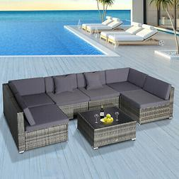 Outsunny Modern Low Back Rattan Chair Sofa Outdoor Sectional