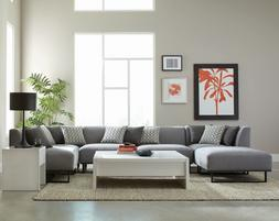 Modern Low Profile 6-Piece Modular Sofa Sectional with Ottom