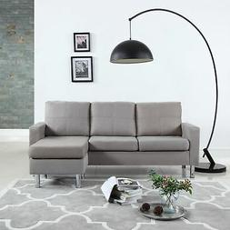 Modern Microfiber Sectional Sofa - Small Space Configurable