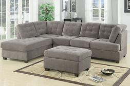 Modern Poundex F7139 Charcoal Furniture Suede Microfiber Fab
